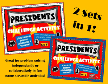 Presidents Challenge Activity - 8 Task Card Puzzles (Set 1