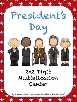 President's Day 2x2 Digit Common Core Multiplication Center