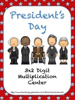 President's Day 3x2 Digit Common Core Multiplication Center