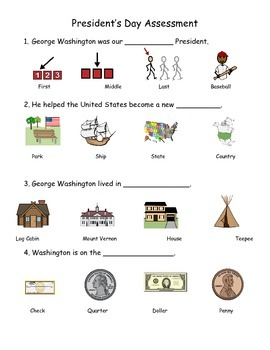 President's Day Assessment, Abraham Lincoln and George Washington