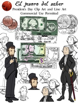 President's Day CLIPART + lineart (Bills & Coins included)