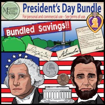 President's Day Clip Art Washington-Lincoln COMBO Set {Mes