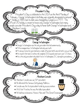 President's Day Differentiated Nonfiction and Reading Comp