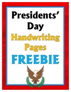 Presidents' Day Handwriting Pages FREEBIE