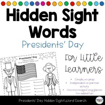 Presidents Day Hidden Sight Word FREEBIE