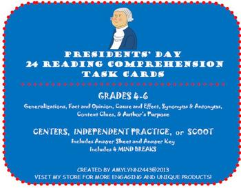 Presidents' Day Task Cards- Fact & Opinion, Generalization