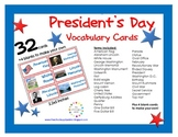 FREE President's Day Vocabulary {32 Cards}