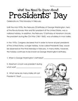 President's Day Worksheet