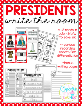 Presidents' Day Write the Room (Bonus Writing Pages)