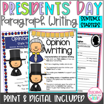 President's Day Opinion Writing Sentence Starters/Frames,