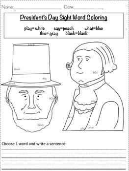 President's Day color by sight word