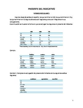 Presente del indicativo (Tablas de conjugación). Present i