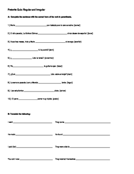 Preterite Quiz or Worksheet Regular and Irregular
