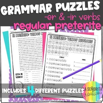 Preterite Regular -er and -ir Verbs Word Puzzles (Wordsear