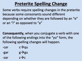 Preterite Spelling Change Verbs in Spanish--Initial Presentation