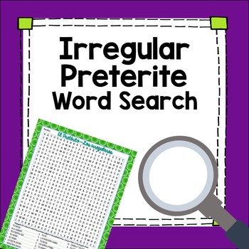 Preterite Tense Irregular Verbs Word Search Worksheet Fun