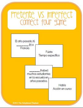 Preterite vs. Imperfect Spanish Connect Four Board Game