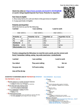 Preterite vs Imperfect flipped class homework