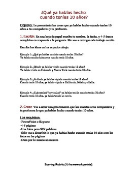 Pretérito Pluscuamperfecto - Practice - Assignment with rubric