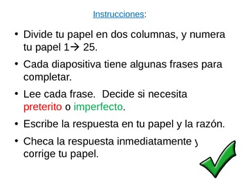 Preterito o Imperfecto? Step by Step Powerpoint Practice w