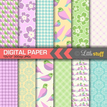 Pretty Birds Digital Paper Pack, Spring Colors