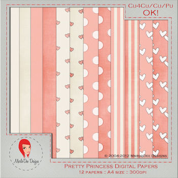Pretty Princess A4 Sized Digital Papers Package 2