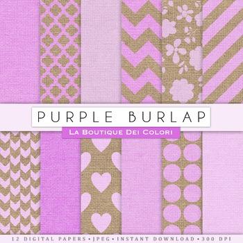 Pretty Purple Burlap Digital Paper, scrapbook backgrounds