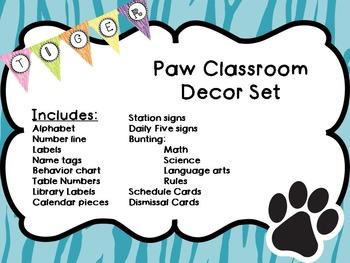 Pretty Tiger Paw Classroom Decor
