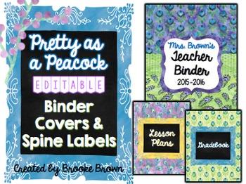 EDITABLE Binder Covers {Pretty as a Peacock}