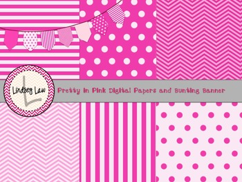 Pretty in Pink Digital Paper and Bunting Banner