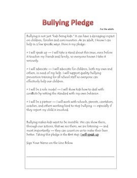 Prevent Bullying Pledge for Adults