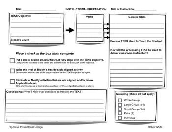 Preview Rigorous Instructional Design Template