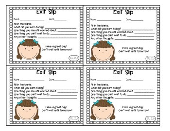 Preview of Back to School Exit Slips