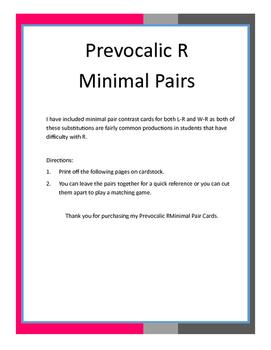 Prevocalic R Minimal Pairs