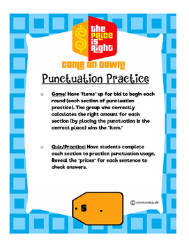 Price is Right:Punctuation Practice!