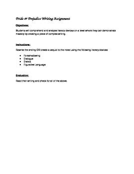 Pride & Prejudice Writing Assignment