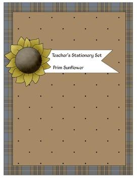 Prim Sunflower Teacher Stationery Set: Personalizable
