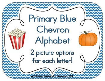 Primary Blue Chevron Alphabet Cards