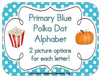 Primary Blue Polka Dot Alphabet Cards