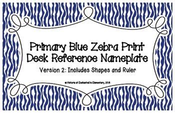 Primary Blue Zebra Print Desk Reference Nameplates Version 2