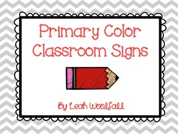 Primary Color Classroom Signs