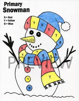 Primary Color Snowman Worksheet