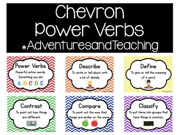 Primary Colors Chevron Power Verbs Learning Target and Obj