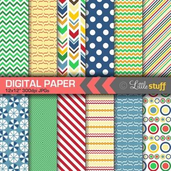 Primary Colors Digital Paper Pack, Bold Patterns Digital B