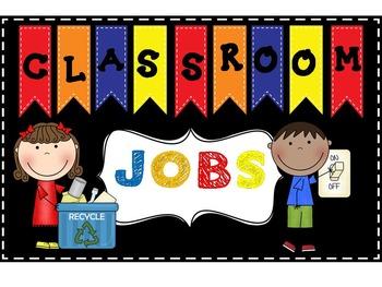 Primary Colors Editable Job Chart or Bulletin Board