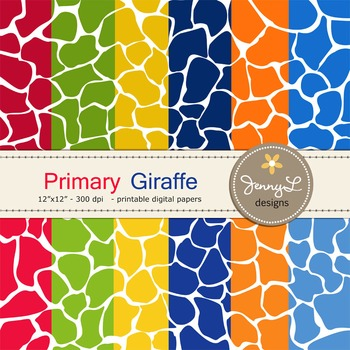 Animal Print: Primary Colors Giraffe Patterned Digital Papers
