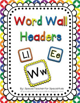 Primary Colors Word Wall Headers