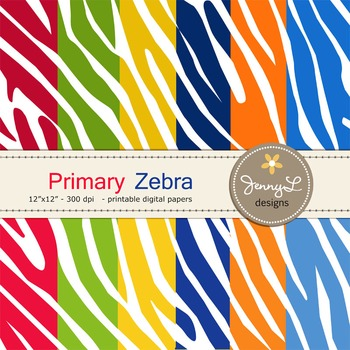 Animal Print: Primary Colors Zebra Patterned Digital Papers