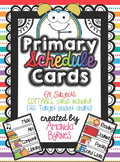 Primary Daily Schedule Cards (Editable, 64 Subjects!)