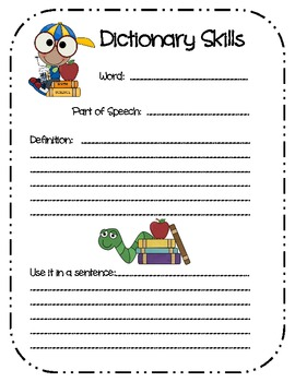 Primary Dictionary Skills Printables